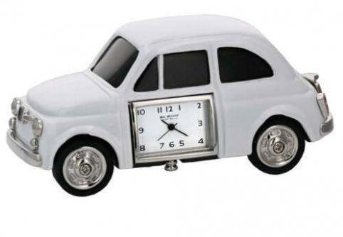 white car miniature clock
