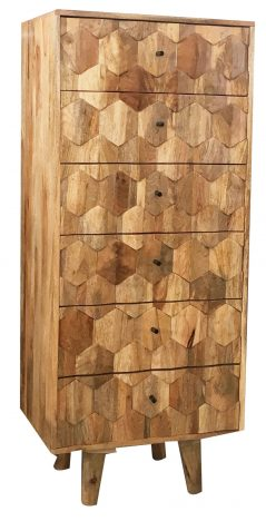 retro style light mango wood chest of 6 drawers with hexagonal pattern