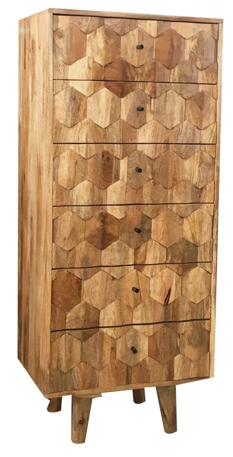 Hexagonal retro 6 drawer tall chest