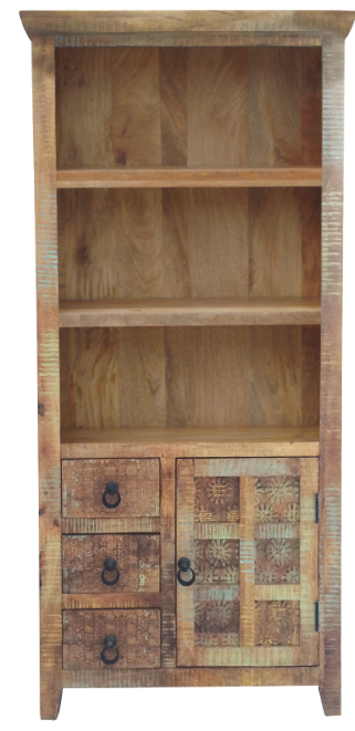 handpainted handcarved mango wood bookcase with storage cupboard