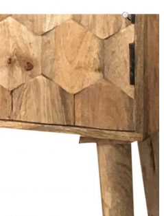 3-door light mango wood 3D carved hexagonal patterned sideboard
