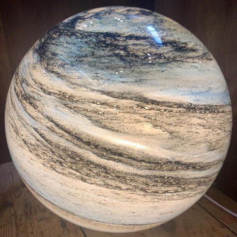 handblown glass planet lamp