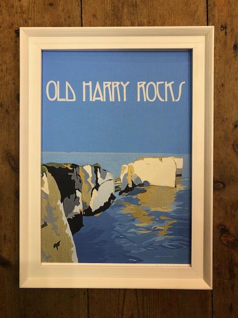 vintage style Old Harry Rocks wall art