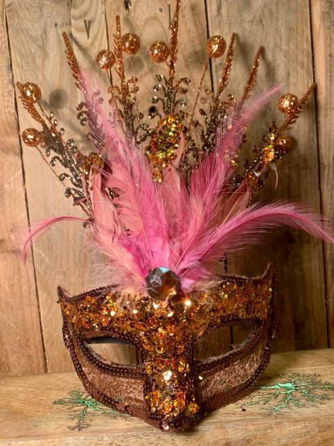 amber glitter feather mask