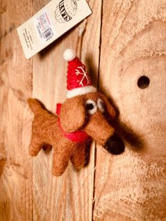 Handmade fairtrade felt hanging Christmas sausage dog