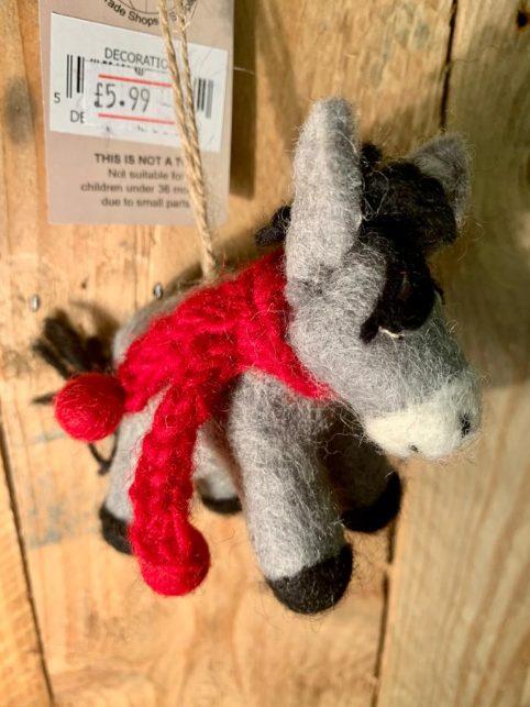 handmade fairtrade hanging felt Christmas donkey