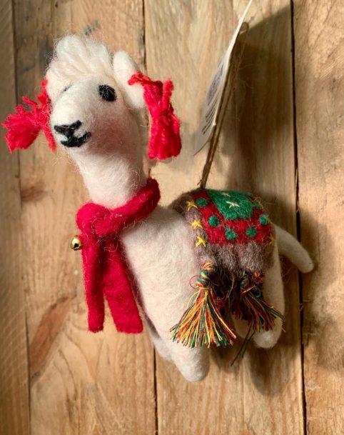Handmade felt fairtrade hanging Christmas Alpaca llama