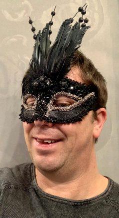 black glitter feather mask