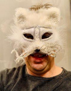 white glitter feather mask