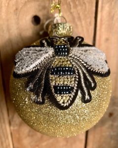 Gold glitter bee bauble