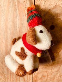 handmade fairtrade felt hanging Christmas dog