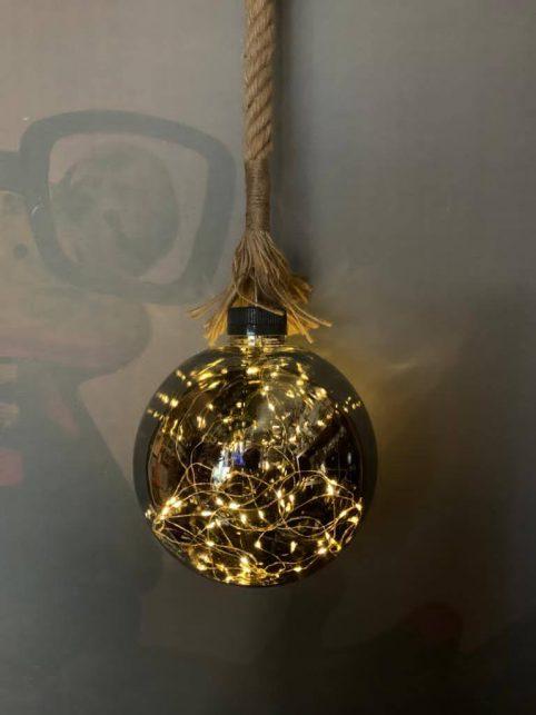 Extra large rope hanging LED lit up globe ball