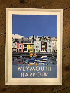 vintage style Weymouth harbour framed print