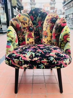 Bohemian style birds of paradise floral design occasional occasional chair