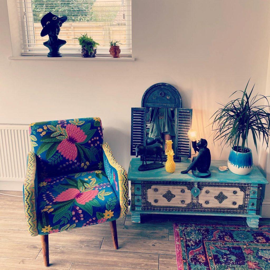 Cholena hand embroidered cotton velvet armchair