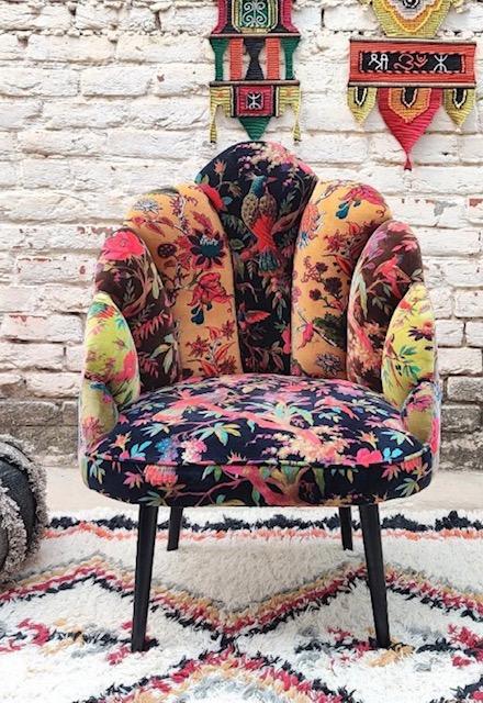 Unique colourful birds of paradise cotton velvet occasional chair