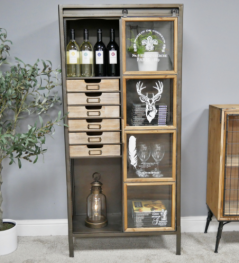 Vintage style industrial metal storage display cabinet with Stag design