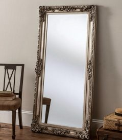 large Rococo style silver color Dorset leaning bedroom mirror with handcarved wooden frame