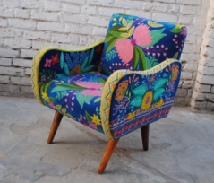hand embroidered colourful butterfly Bohemian style blue cotton velvet occasional armchair