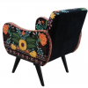 hand embroidered colorful butterfly black cotton velvet armchair