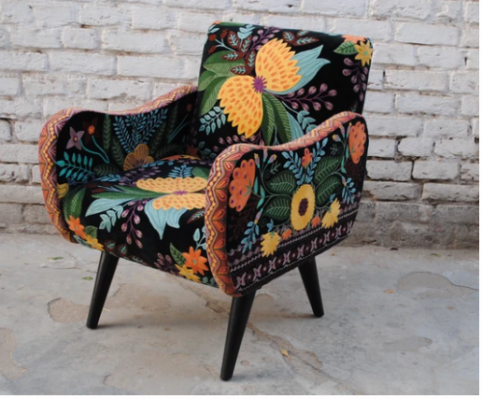 hand embroidered Galilahi colorful butterfly cotton velvet unique armchair