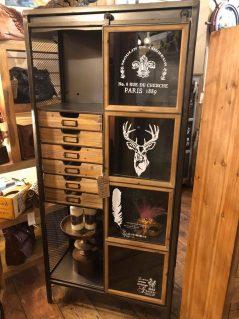 Vintage style industrial metal storage / display cabinet with stag design