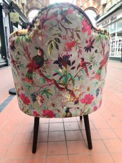 the back of the fan shaped chair