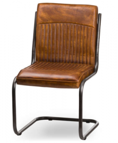 vintage style ribbed leather dinning chair