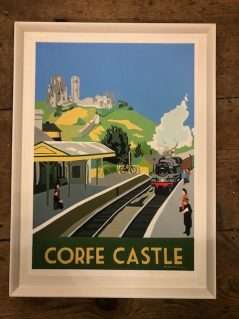vintage style print of Corfe castle with train