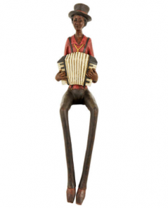 vintage style shelf sitting accordian squeezebox player figurine