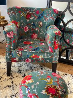 bohemian style colourful floral pattern occasional armchair