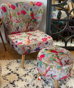 Colourful bird of paradise cotton velvet grey occasional chair