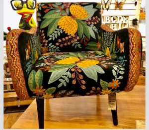 hand embroidered black cotton velvet armchair