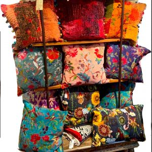 indian colourful floral cotton velvet cushions