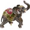extra large enamelled metal elephant treasured trinket box