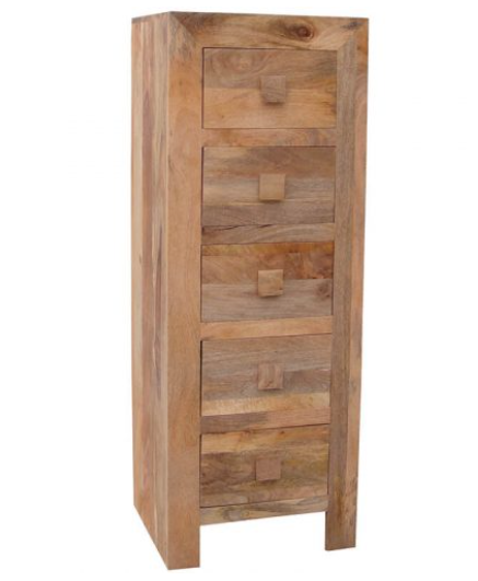 light mang wood 5 drawer chest of drawers tallboy