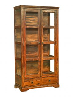 Sheesham wood glass display cabinet