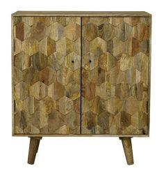 light mango wood 2 door drinks cabinet wine buffet with handcarved hexagonal pattern