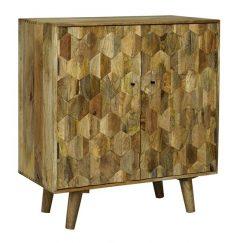 light mango wood 2 door small sideboard with hexagonal pattern