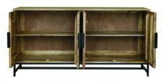 4 Door Industrial Style Natural Light Mango Wood Spacious Sideboard