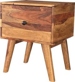 Retro style two tone sheesham wood side table with one drawer