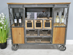 Industrial storage cabinet with wheels and wooden sliding doors