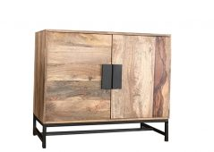 contemporary industrial style light mango wood 2 door sideboard with metal stand and metal handles