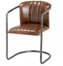 classic ribbed leather dining chair with metal stand
