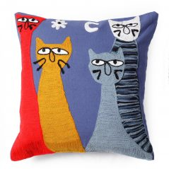 embroidered grumpy cat cushion