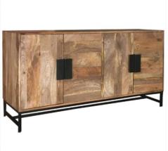 industrial style agra light mango wood 4 door sideboard with metal frame