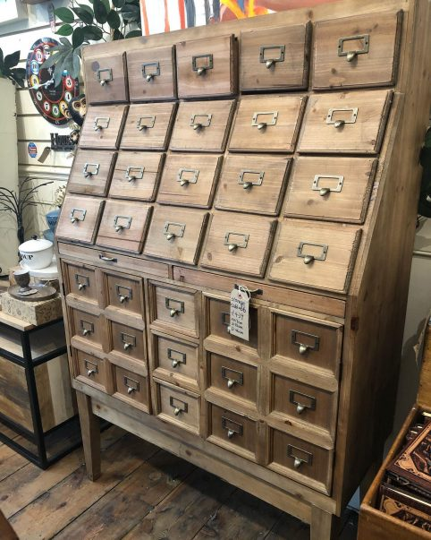 multi drawer wooden apothecary unit storage cabinet