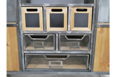 Industrial metal storage cabinet with wheels and sliding doors