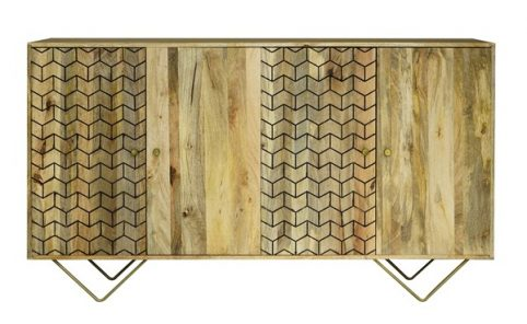 Retro Style Light mango wood four door sideboard with brushed brass effect iron legs