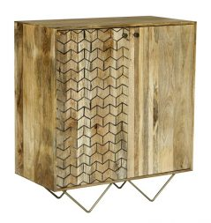Retro Style Light Mango Wood Two Door Drinks Cabinet